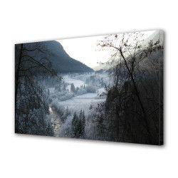 Tablou Canvas Premium Peisaj Multicolor Peisaj de munte alb-negru Decoratiuni Moderne pentru Casa 80 x 160 cm Tablouri