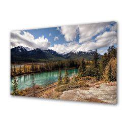 Tablou Canvas Premium Peisaj Multicolor Peisaj de munte cu lac Decoratiuni Moderne pentru Casa 80 x 160 cm Tablouri