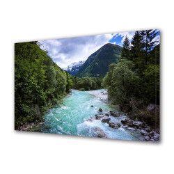 Tablou Canvas Premium Peisaj Multicolor Peisaj de munte cu rau intre copaci Decoratiuni Moderne pentru Casa 80 x 160 cm Tablouri