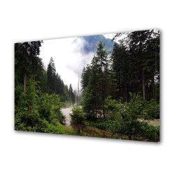 Tablou Canvas Premium Peisaj Multicolor Peisaj de munte in ceata 1 Decoratiuni Moderne pentru Casa 80 x 160 cm Tablouri