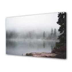 Tablou Canvas Premium Peisaj Multicolor Peisaj de munte in ceata Decoratiuni Moderne pentru Casa 80 x 160 cm Tablouri
