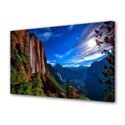 Tablou Canvas Premium Peisaj Multicolor Peisaj de munte pe inserat Decoratiuni Moderne pentru Casa 80 x 160 cm Tablouri