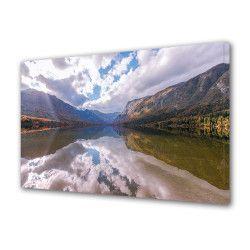 Tablou Canvas Premium Peisaj Multicolor Peisaj de toamna oglindit in apa Decoratiuni Moderne pentru Casa 80 x 160 cm Tablouri