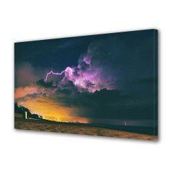Tablou Canvas Premium Peisaj Multicolor Fulger violet pe plaja Decoratiuni Moderne pentru Casa 80 x 160 cm Tablouri