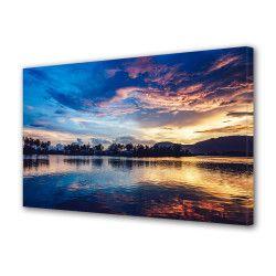 Tablou Canvas Premium Peisaj Multicolor Peisaj la apus oglindit in apa Decoratiuni Moderne pentru Casa 80 x 160 cm Tablouri