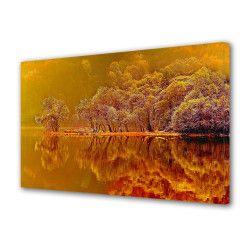 Tablou Canvas Premium Peisaj Multicolor Lac de foc toamna Decoratiuni Moderne pentru Casa 80 x 160 cm Tablouri