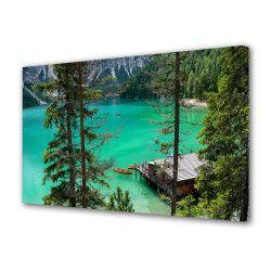 Tablou Canvas Premium Peisaj Multicolor Lac verde intre copaci Decoratiuni Moderne pentru Casa 80 x 160 cm Tablouri