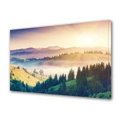 Tablou Canvas Premium Peisaj Multicolor Peisaj luminos cu munti si brazi Decoratiuni Moderne pentru Casa 80 x 160 cm Tablouri
