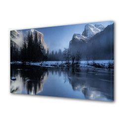 Tablou Canvas Premium Peisaj Multicolor Munti cu zapada oglinditi in apa Decoratiuni Moderne pentru Casa 80 x 160 cm Tablouri