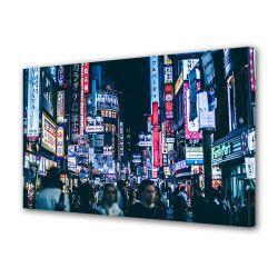 Tablou Canvas Premium Peisaj Multicolor Oameni prin oras seara Decoratiuni Moderne pentru Casa 80 x 160 cm Tablouri