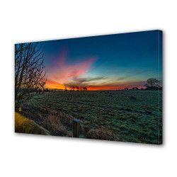 Tablou Canvas Premium Peisaj Multicolor Oi care pasc pe inserat Decoratiuni Moderne pentru Casa 80 x 160 cm Tablouri