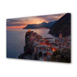 Tablou Canvas Premium Peisaj Multicolor Oras pe malul apei la apus Decoratiuni Moderne pentru Casa 80 x 160 cm Tablouri