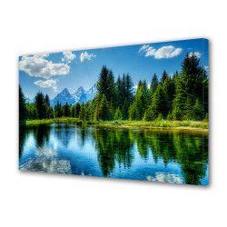 Tablou Canvas Premium Peisaj Multicolor Padure si munti oglindite in apa Decoratiuni Moderne pentru Casa 80 x 160 cm Tablouri
