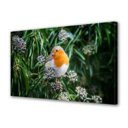 Tablou Canvas Premium Peisaj Multicolor Pasare stand pe floare Decoratiuni Moderne pentru Casa 80 x 160 cm Tablouri
