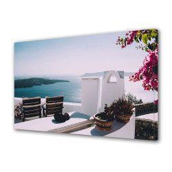 Tablou Canvas Premium Peisaj Multicolor Pe terasa casei de la malul lacului Decoratiuni Moderne pentru Casa 80 x 160 cm Tablouri