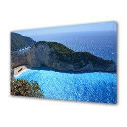 pret preturi Tablou Canvas Premium Peisaj Multicolor Plaja pustie in Lefkada Grecia Decoratiuni Moderne pentru Casa 80 x 160 cm