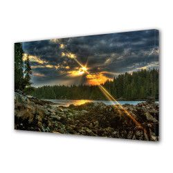 Tablou Canvas Premium Peisaj Multicolor Stea vazuta la apus Decoratiuni Moderne pentru Casa 80 x 160 cm Tablouri