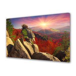 Tablou Canvas Premium Peisaj Multicolor Peisaj cu soare stralucitor stanci si padure rosie Decoratiuni Moderne pentru Casa 80 x 160 cm Tablouri