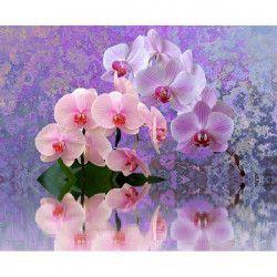 Tablou Canvas Reflexie de orhidee 80 x 60 cm Rama lemn Multicolor Tablouri