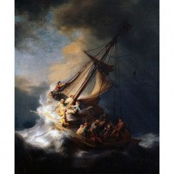 Tablou Canvas Reproducere Rembrandt Christ in the Storm on the Lake of Galilee 60 x 72 cm Multicolor