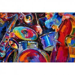 Tablou Canvas Saxofon 80 x 50 cm Rama lemn Multicolor Tablouri