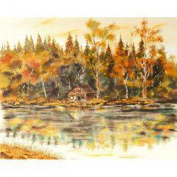 Tablou Canvas Toamna pe panza 80 x 60 cm Rama lemn Multicolor Tablouri
