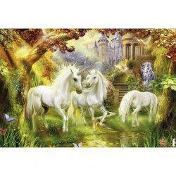 Tablou Canvas Unicorni 90 x 60 cm Rama lemn Multicolor