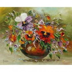 Tablou Canvas Vas cu flori 60 x 45 cm Rama lemn Multicolor