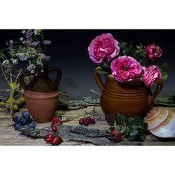 Tablou Canvas Vas cu flori 80 x 50 cm Rama lemn Multicolor Tablouri