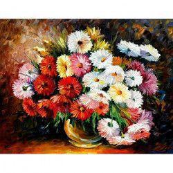 Tablou Canvas Vas cu flori 80 x 60 cm Rama lemn Multicolor Tablouri
