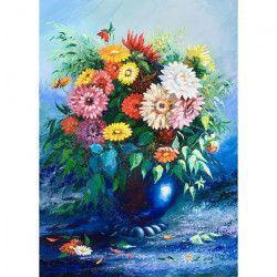 Tablou Canvas Vaza albastra cu flori colorate 50 x 70 cm Multicolor Tablouri