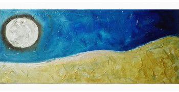 Tablou abstract gata de inramat Luna Plina 20x50cm pictat manual de DOBOS Tablouri