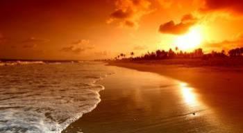 Tablou Canvas Rasarit de Soare pe Plaja 95 x 65 cm Tablouri