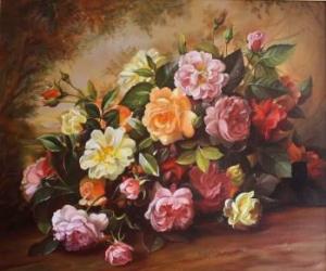 pret preturi Tablou Canvas Vas cu flori 72 x 60 cm Rama lemn Multicolor