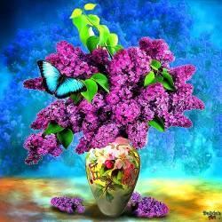 Tablou Canvas Vaza cu liliac 70 x 70 cm Rama lemn Multicolor Tablouri