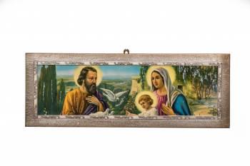 Tablou cu ornamente argintate Sfanta Familie Made in Italy 69.5x25.5x1.5 cm Tablouri