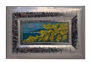 Tablou cu rama argintata peisaj Flori galbene si marea Europa Argenti 46.5x31.5 cm Tablouri