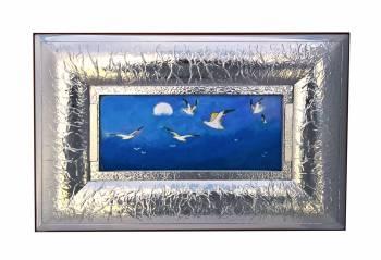 Tablou cu rama argintata peisaj Zborul pescarusilor Europa Argenti 46.5x31.5x3cm Tablouri