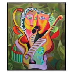 Tablou modern abstract gata de inramat Iubire si Armonie 60x70cm pictat manual de DOBOS Tablouri