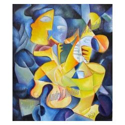 Tablou modern abstract gata de inramat Ritmuri inghetate 60x70cm pictat manual de DOBOS Tablouri