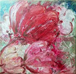 Tablou modern contemporan Flori roz 40x 40cm pictat manual de DOBOS Tablouri