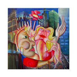 Tablou modern gigant Iubire in NY 120x120cm pictat manual de DOBOS Tablouri