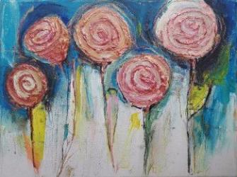 Tablou modern pictat manual si gata de inramat Trandafiri salbatici 30 x 40 cm de DOBOS Tablouri