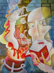 Tablou modern ulei pe panza Alchimistul 200 x 140cm pictat manual de DOBOS Tablouri