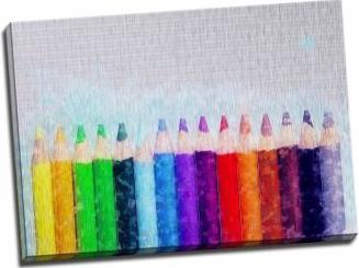 Tablou pe aluminiu striat Rainbow Pencils Tablouri