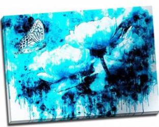 Tablou pe metal striat Butterfly in the Blue Tablouri
