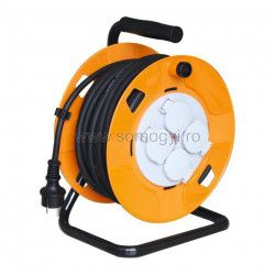 Tambur cablu cadru metalic 4 prize cu mpmntare 30 m 3x1 5 mm2 IP44