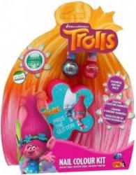 Trusa de unghii Giochi Preziosi Trolls cu cutie in forma de floare albastru/roz Papusi figurine si accesorii papusi