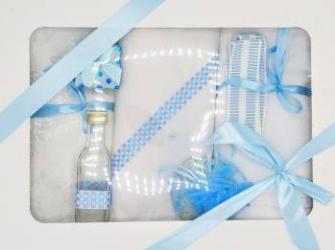 Trusou botez bentița bleu in cutie cu capac alb Articole botez