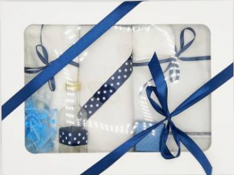 Trusou botez bentița bleumarin in cutie cu capac alb Articole botez